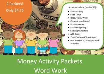 Money spelling packets (2) using 10 words in each packet with 28 different activities, over 100 pages of printable fun and learning :o); great for differentiated learning.  ****Please note: you are purchasing 2 packets with 10 different money words in each packet!