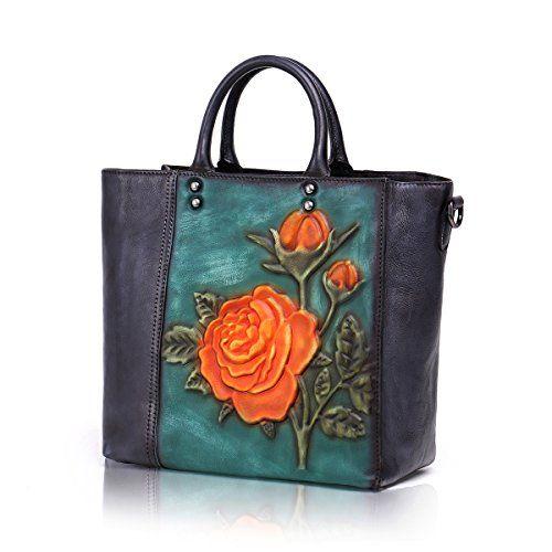 Aphison Unique Designer Vintage Embossed Floral Header Layer Cowhide Women S Handbags 8166 Small Handbags Leather Leather Shoulder Bag Woman Leather Handbags