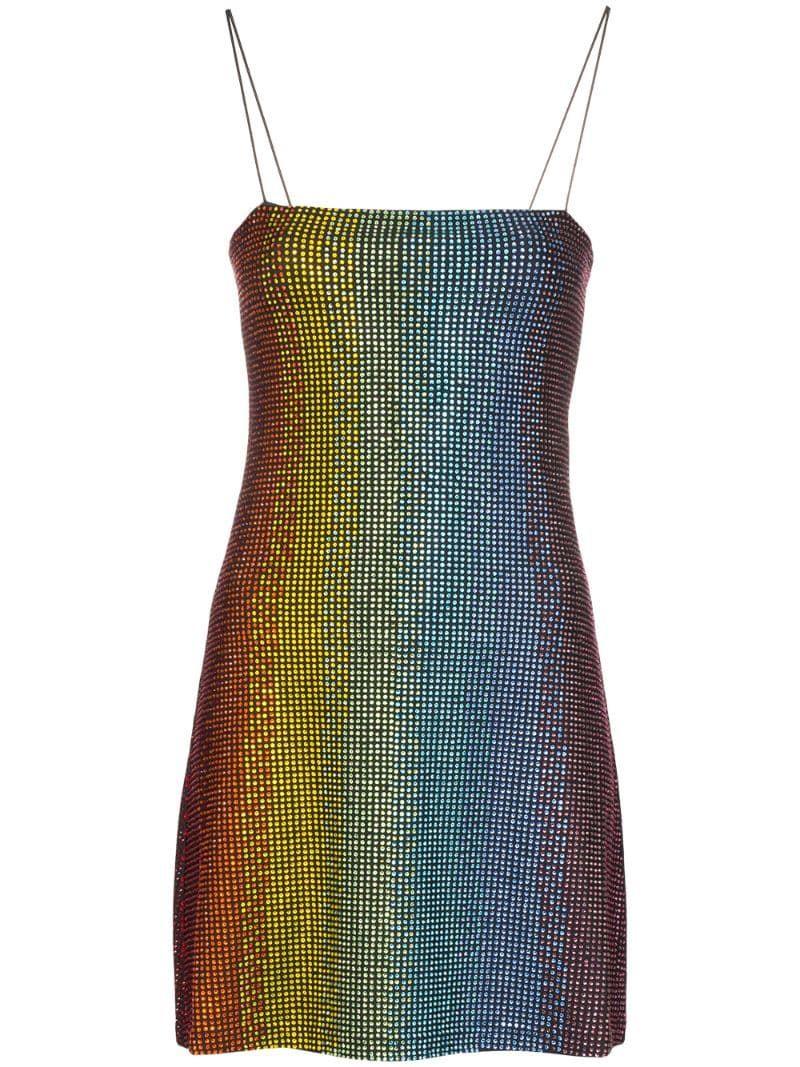 Adam Selman Sport Rainbow crystalembellished Mini Dress