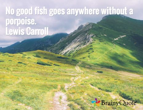 """No good fish goes anywhere without a porpoise."" Lewis Carroll"