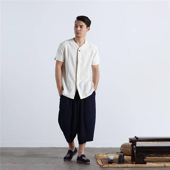 Men Autumn & Winter Cotton and Linen Casual pants – Loose Causal Pure Color Cotton and Linen Men Hanging Crotch Cropped Pants ZlrWCx