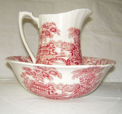 Vintage Red Pink Transferware Bowl and Pitcher Tonquin Swans Roses