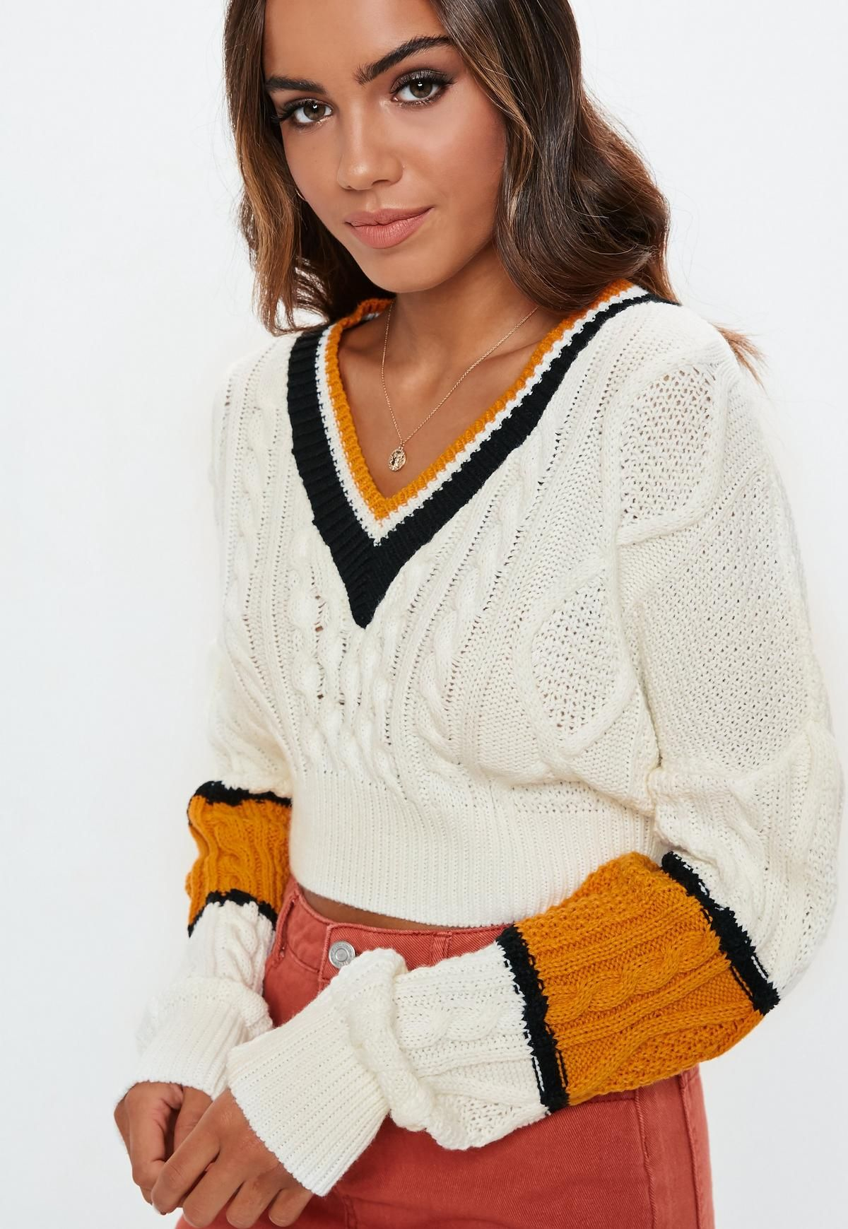 826671c5933d55 Tall Cream V Neck Cable Colorblock Cropped Sweater. Order today & shop it  like it's hot at Missguided.