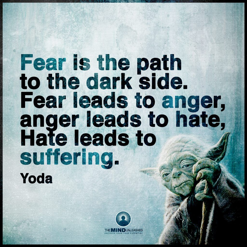 Pin by Cheryl Harris-dowling on Inspirational quotes | Yoda quotes, Fear  leads to anger, Fear quotes