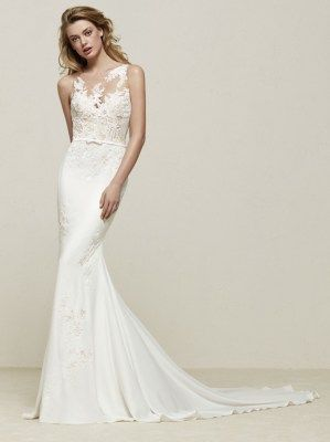 423692f04f4 Fit and Flare crepe lace illusion wedding dress with belt