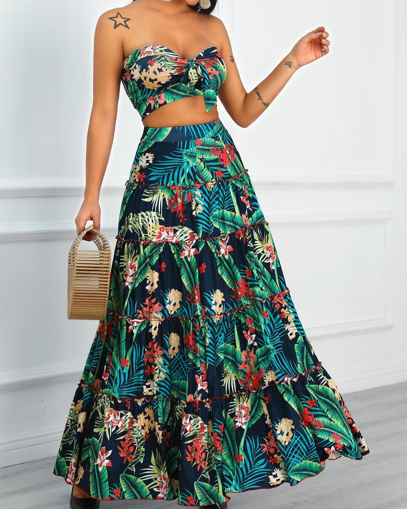 Tropical Print Crop Top Maxi Skirt Set Fashion Maxi Skirt Crop Top Two Piece Dress