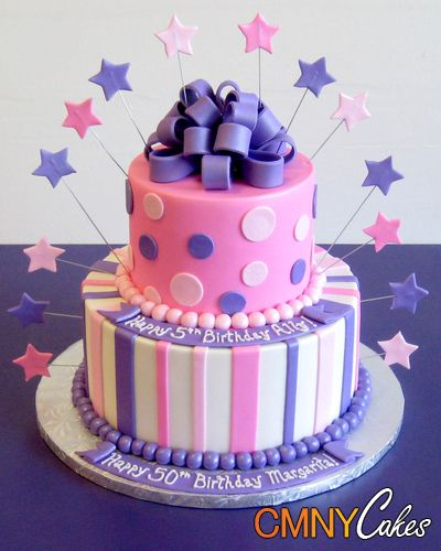 Pink And Purple Birthday Cake With Images Purple Cakes
