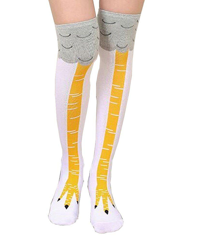 Crazy funny chicken legs kneehigh novelty socks funny