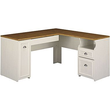 Bush Furniture Fairview L Shaped Desk Antique White Tea Maple Wc53230 03k Goruntuler Ile Ofis Tasarimlari Tasarim Ofisler