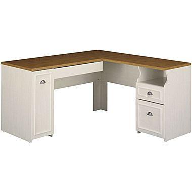 Bush Furniture Fairview L Shaped Desk Antique White Tea Maple