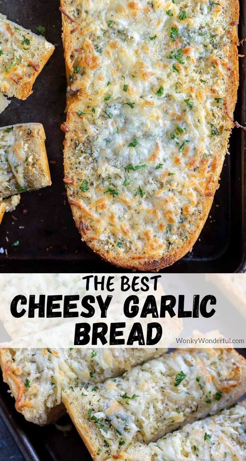 Homemade Garlic Cheese Bread Is The Perfect Side Dish For Any Dinner Or Holiday Meal French Bread Topped With G In 2021 Garlic Cheese Bread Garlic Cheese Cheese Bread