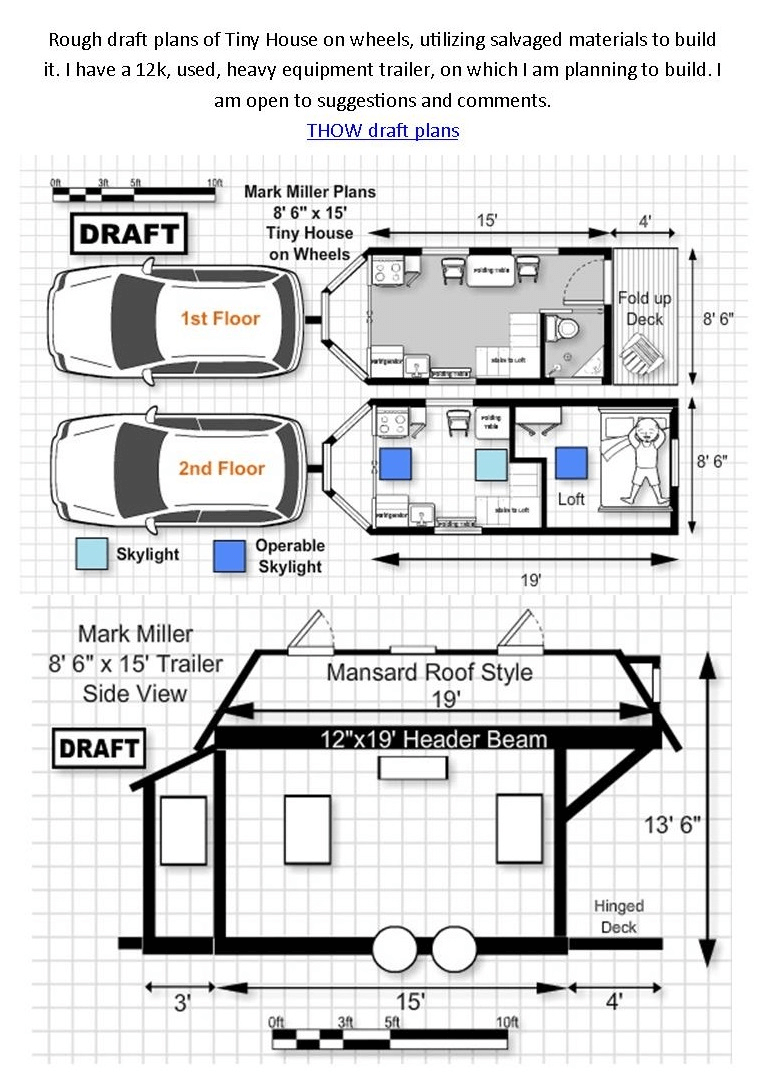 Tiny House On Wheels Floor Plans 1st And 2nd Floor Tiny