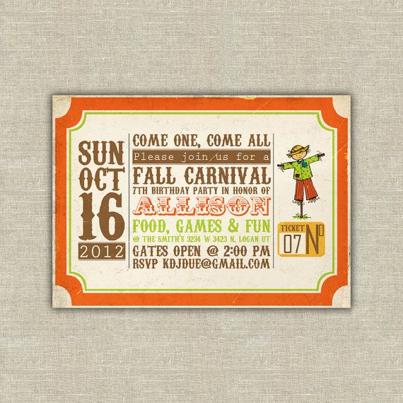 Harvest Party Invitations Carnival Ticket Pumpkin Scarecrow Digital File On Etsy 2000