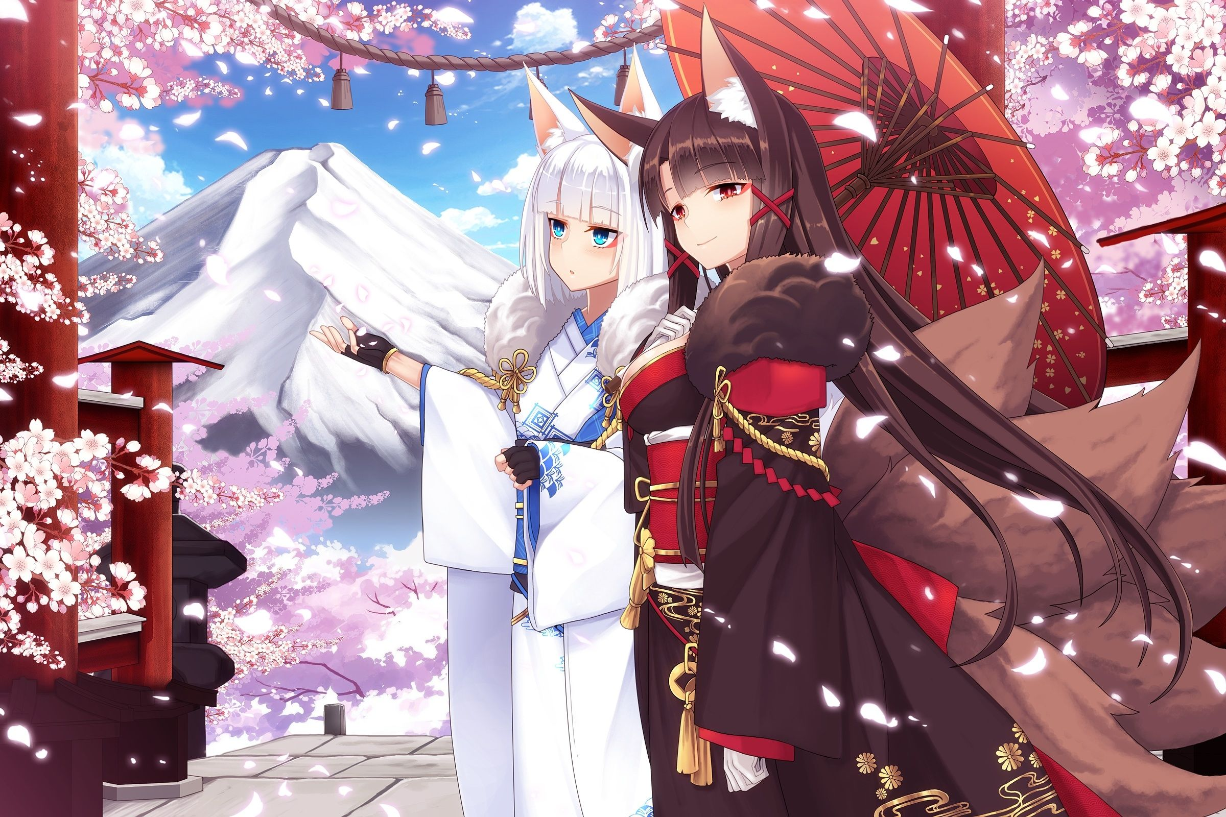 Download 2400x1600 Azur Lane Akagi Kaga Kimono Animal Ears Sakura Blossom Wallpapers Wallpapermaiden Anime Kaga Akagi Akagi muse azur lane wallpaper