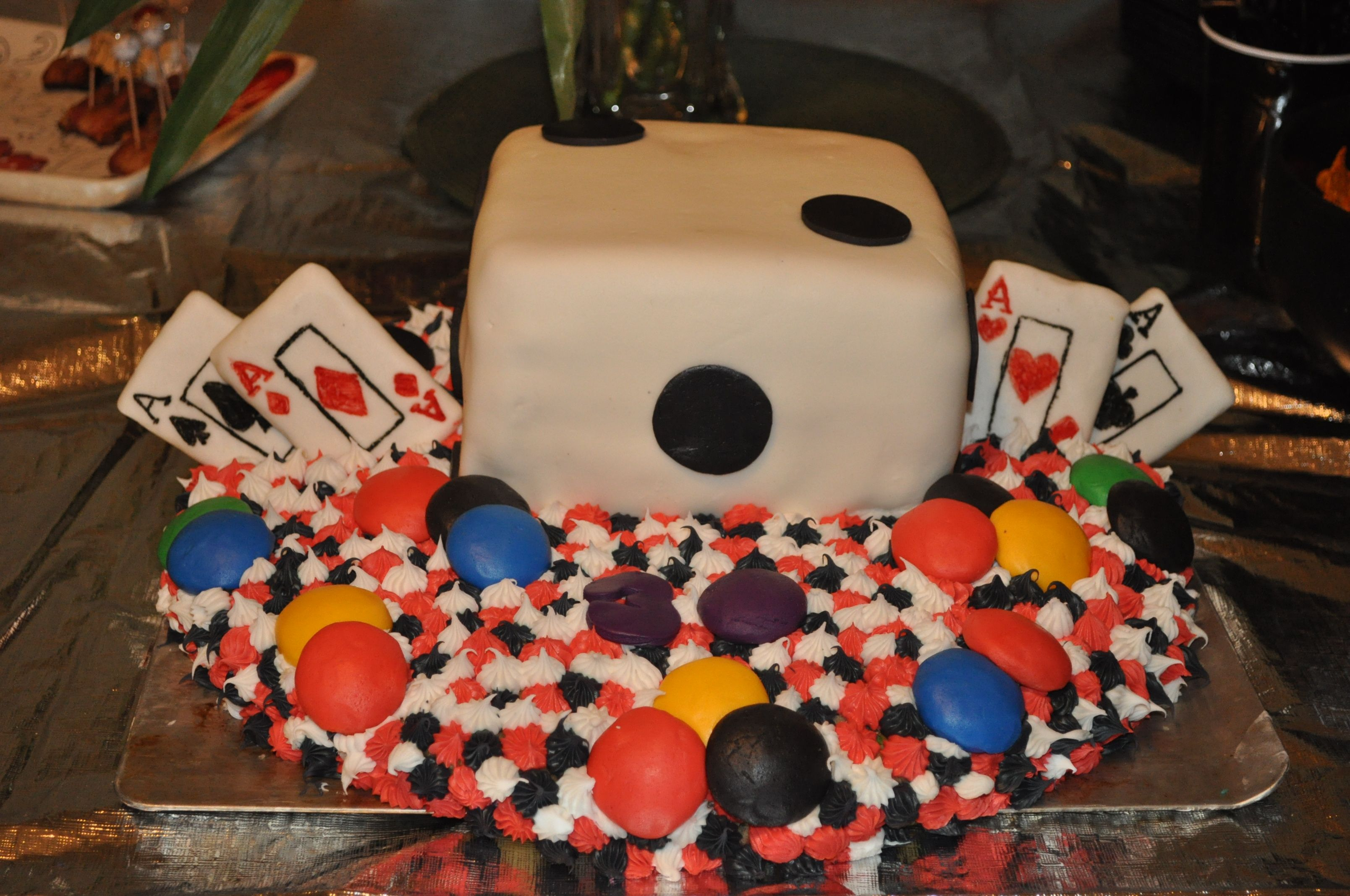 Poker Cakes / Las Vegas / Casino / Gambling - Casino Party Cake. Poker chips are nilla waffers covered in fondant. Cards are fondant covered graham crackers.