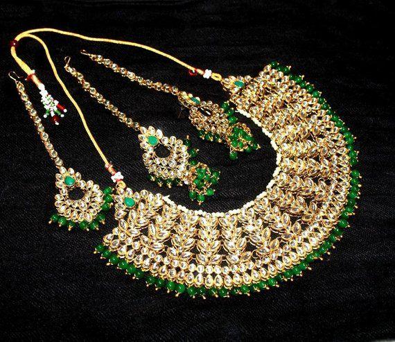 6fb94d8811 Kundan Necklace Set, Maharani Heavy Choker Kundan Jewelry with Green Beads,  Maang Tikka & Jumki Styl
