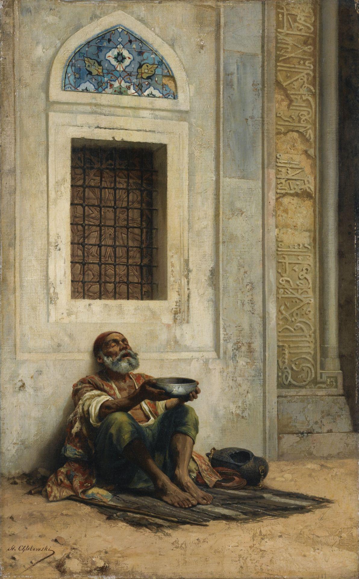 mendicant at the Mosque door , Stanislaus von Chlebowski 1835 - 1884