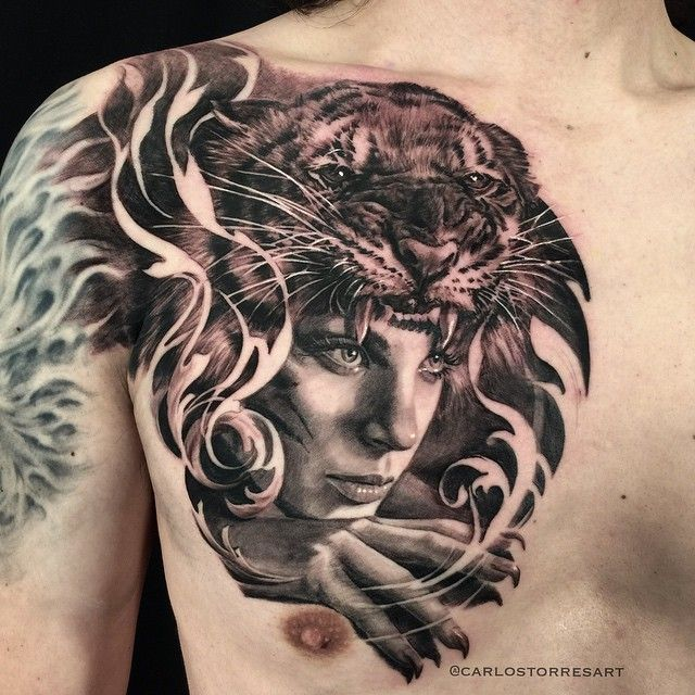 Carlos Torres Woman With Tiger Headdress Tattoo Art Drawings Circle Tattoos Torres Tattoo