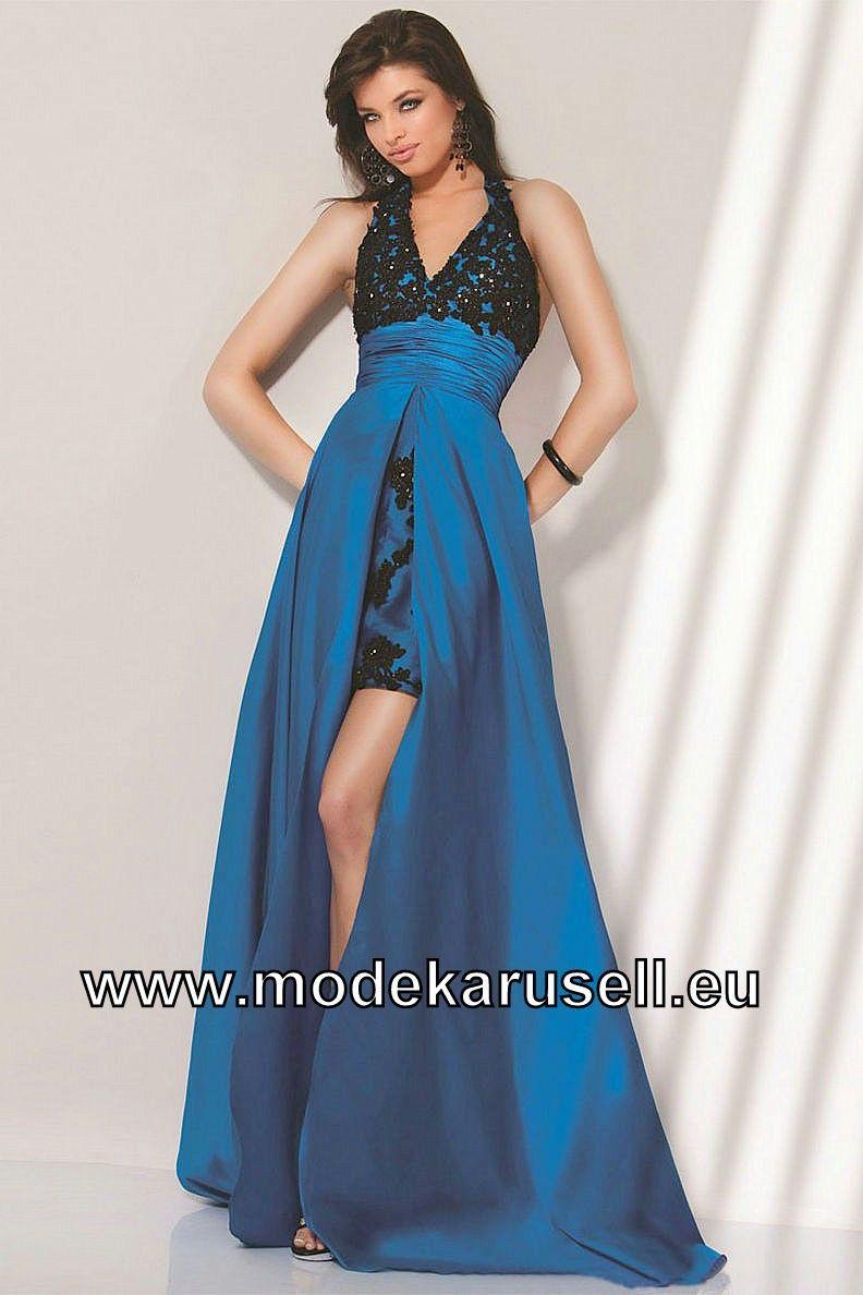 Elegantes Neckholder Vokuhila Abendkleid in Blau (mit ...
