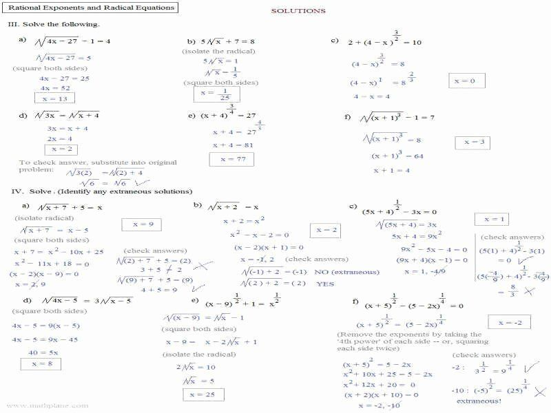 Equations With Rational Exponents Worksheet A 9 3 - Tessshebaylo