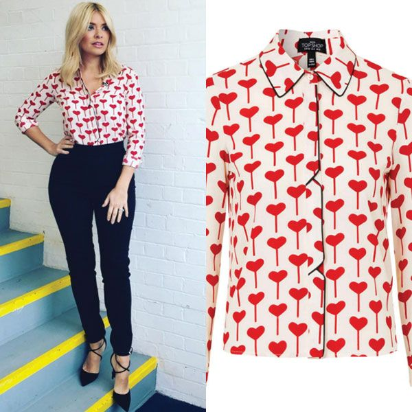 0d10d06b1b3e holly willoughby heart shirt topshop with high waisted black jeans 50's  vintage retro glamorous