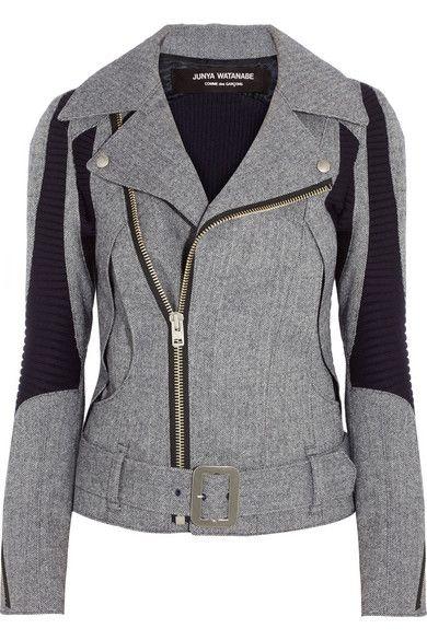 JUNYA WATANABE Herringbone wool-blend biker jacket