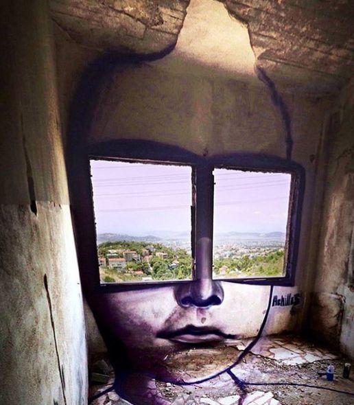 Dibujo en unas ventanas
