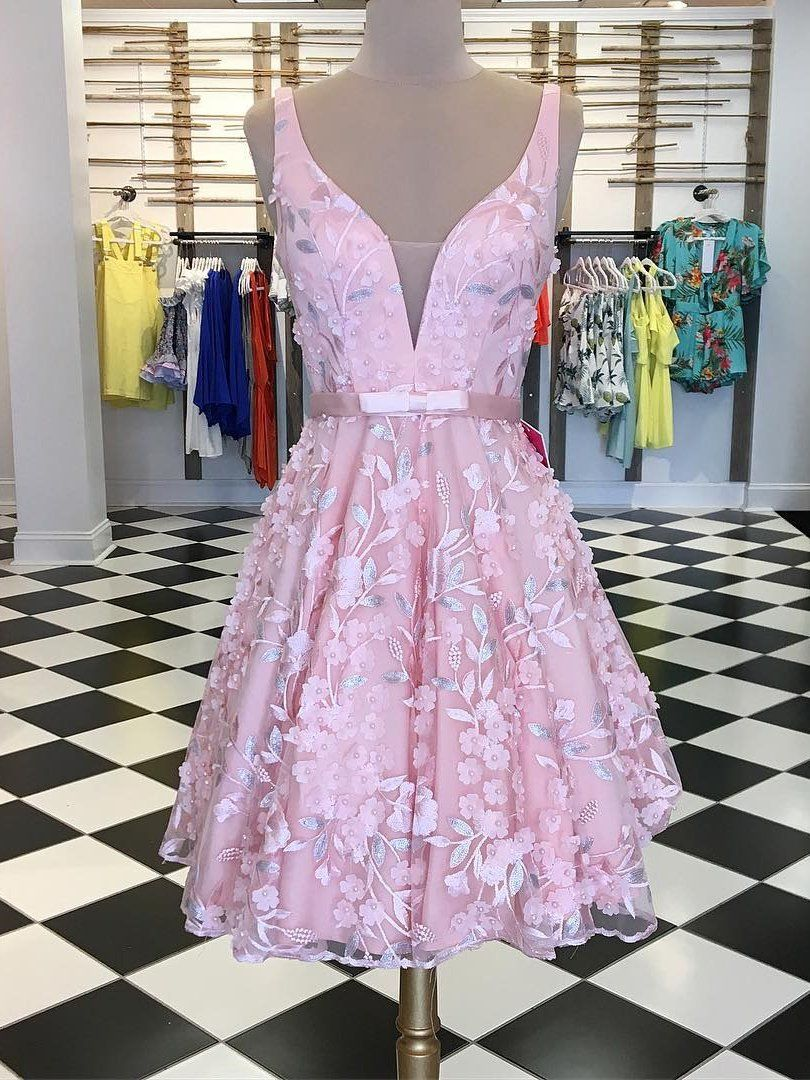 Aline straps shortmini prom dress with applique beautiful pink