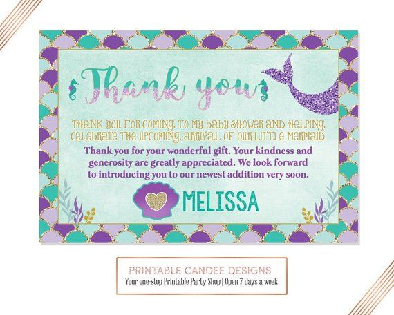 Mermaid Baby Shower Thank You Card Under The Sea Theme Gold Teal