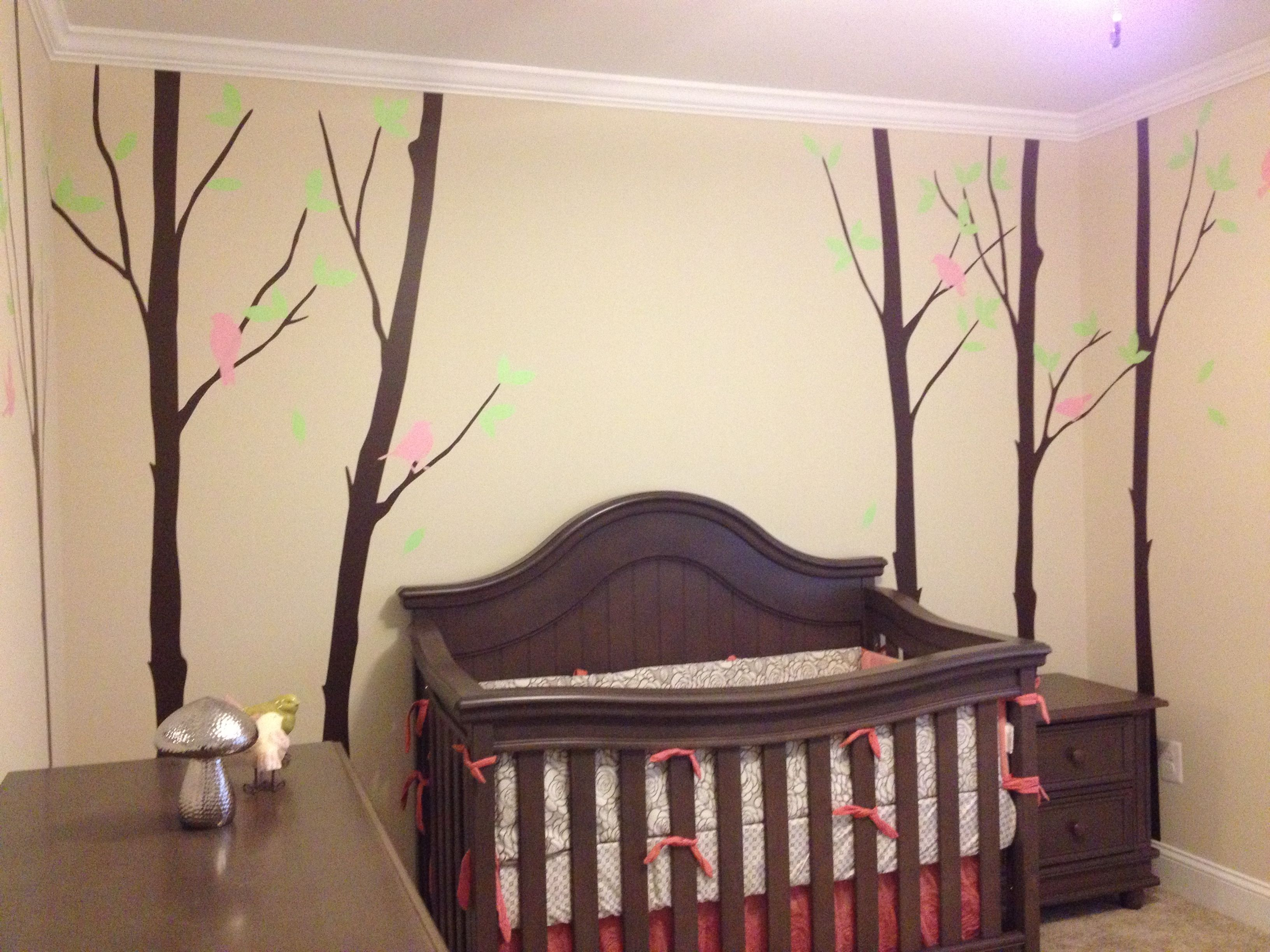 Our baby girl\'s Woodland themed nursery. Wall Decals: www ...