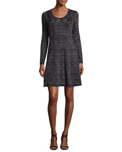 Long-Sleeve Zigzag Lurex® A-Line Dress, Black | *Neiman Marcus ...