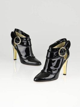 Jimmy Choo Patent Leather Chicaago Stiletto Gold Hardware Black Boots $199