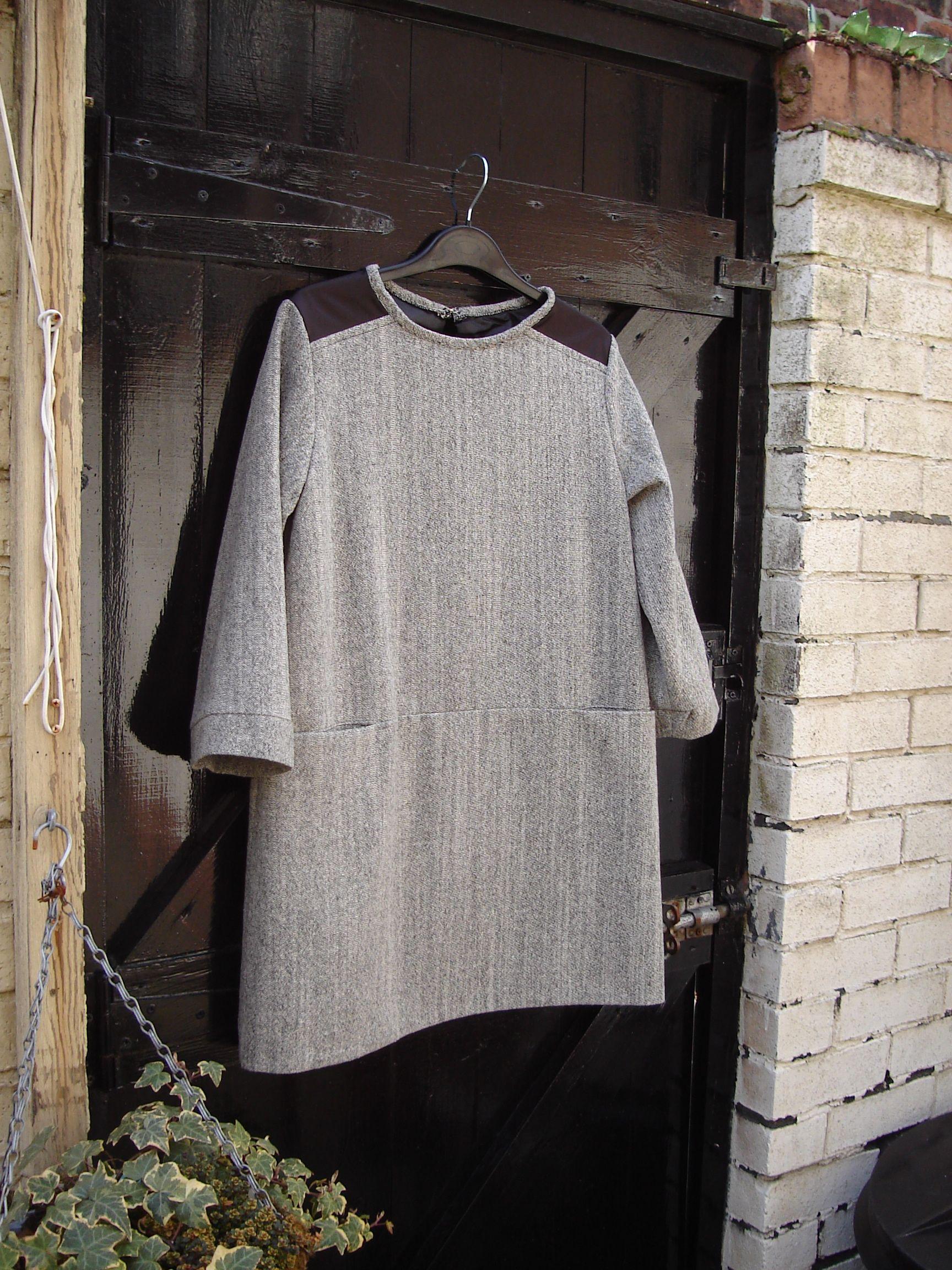 Customer order, wool shift dress, 3/4 length sleeve, fully lined, lapel detail