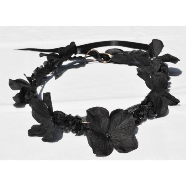 Black Flower Crown / Black crown / Bohemian / Hippie / Fashion /... ($21) ❤ liked on Polyvore featuring accessories, hair accessories, fillers, floral crowns, bridal hair accessories, flower crown headband, flower crown and boho headbands