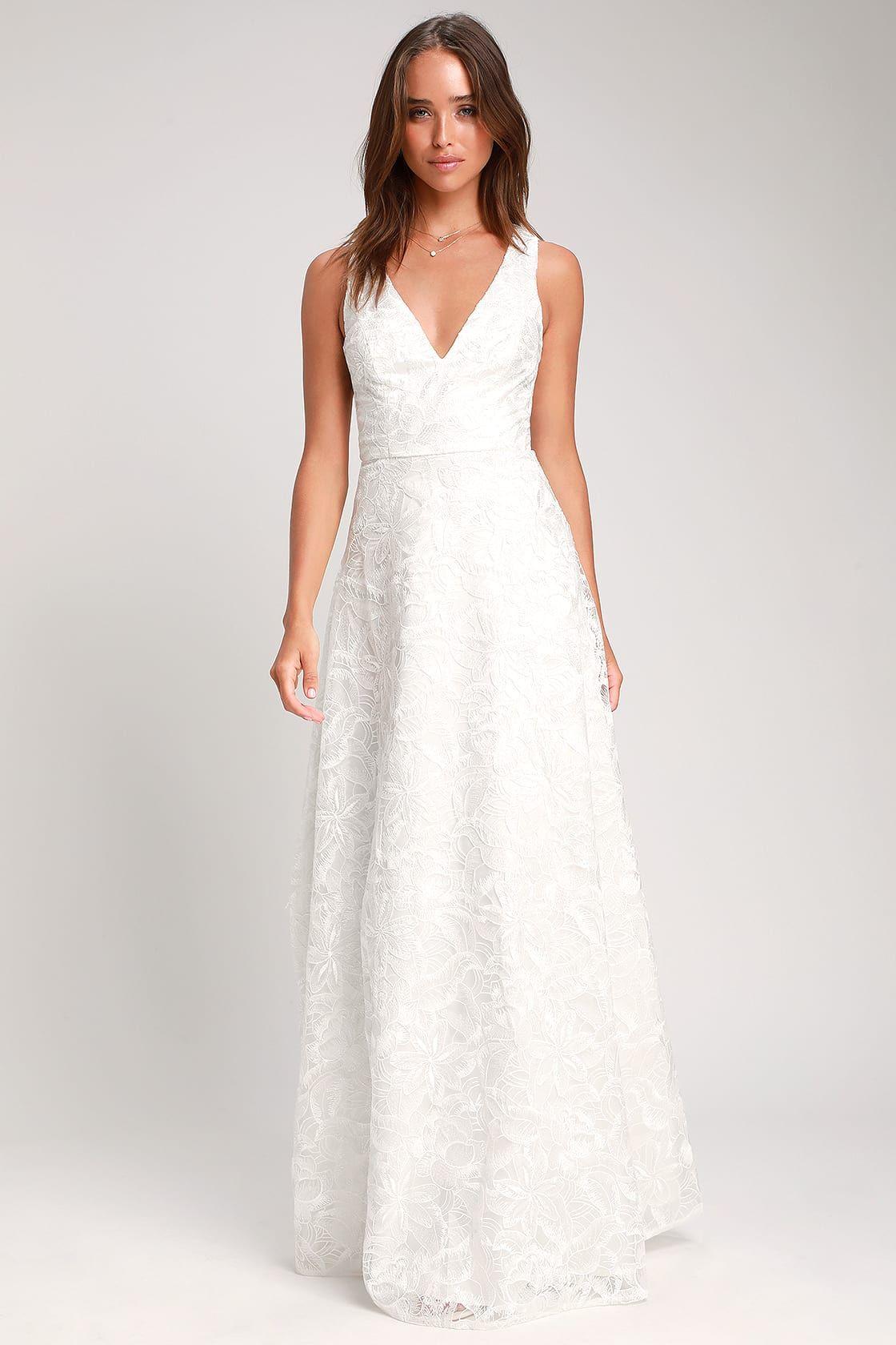 612c44ab691 Fausta White Embroidered Sleeveless Maxi Dress