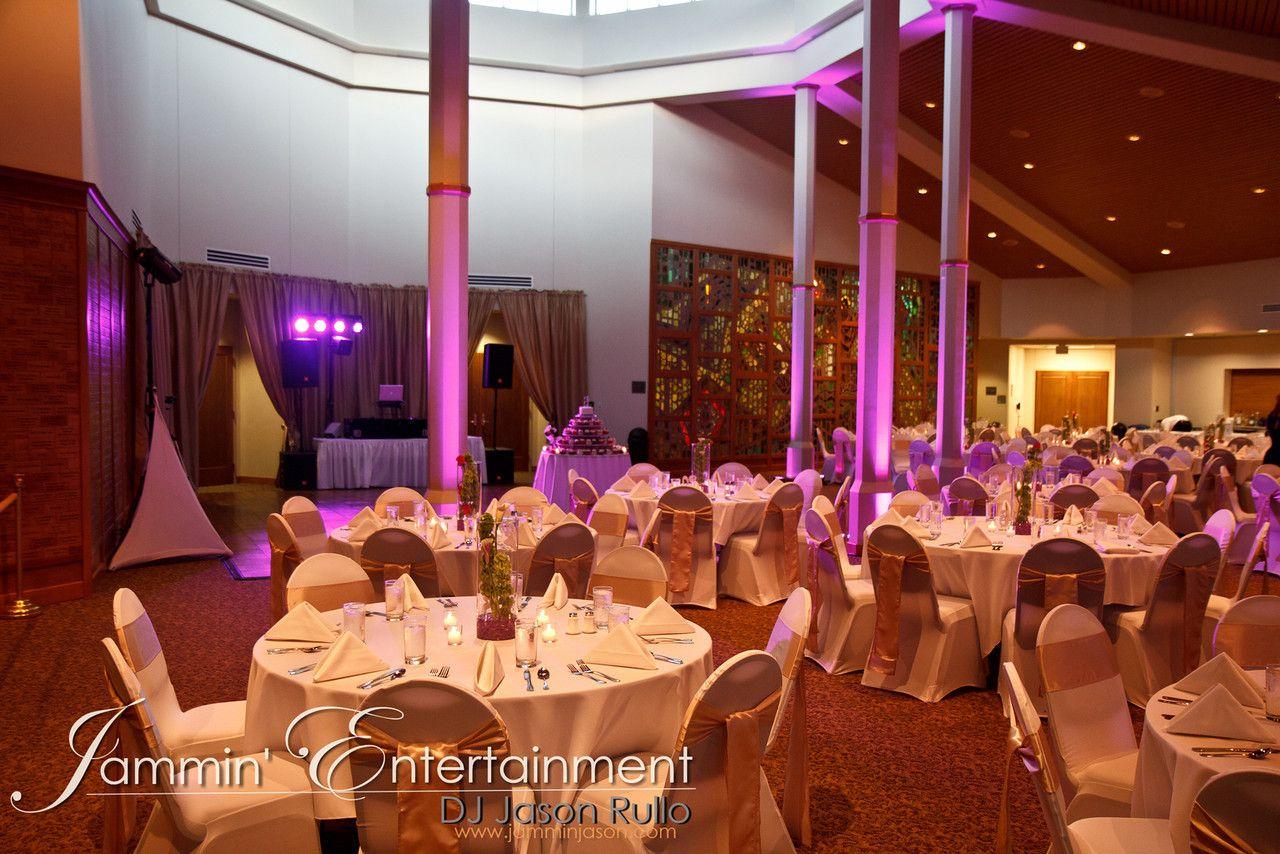 Purple Uplighting Provided By Dj Jason Rullo At The St Thomas Moore Center Pittsburgh Pa Uplighting Dj Wedding
