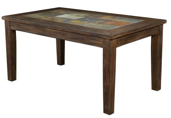 Savannah Antique Charcoal Wood Table W Slate Top Table Chic