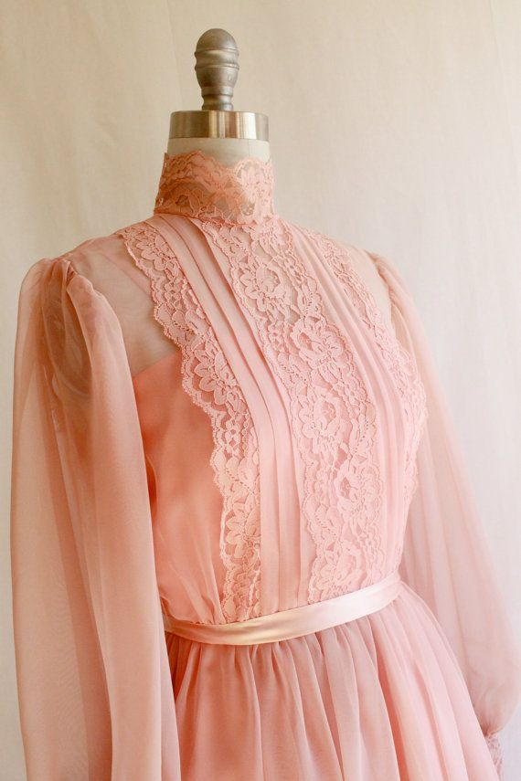 Romantic Peach Pink 1970s Vintage prom dress / Lace sheer | Looks ...