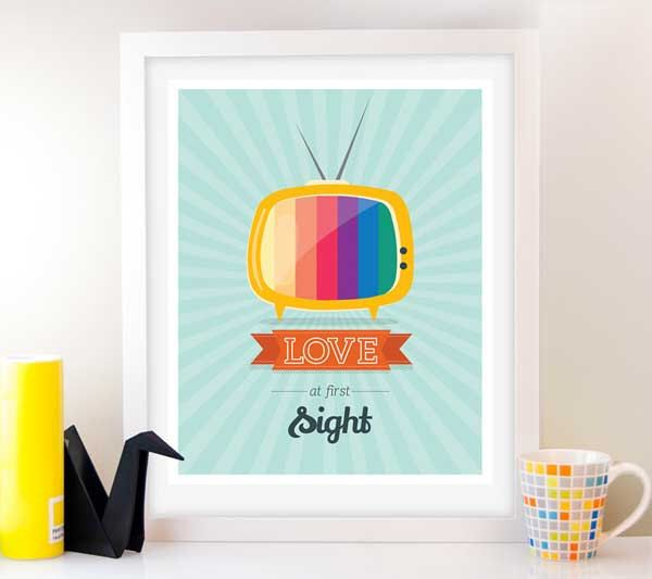 Love Art Retro Tv Print Mid Century Poster Mad Men Quote Inspirational Valentine Gift