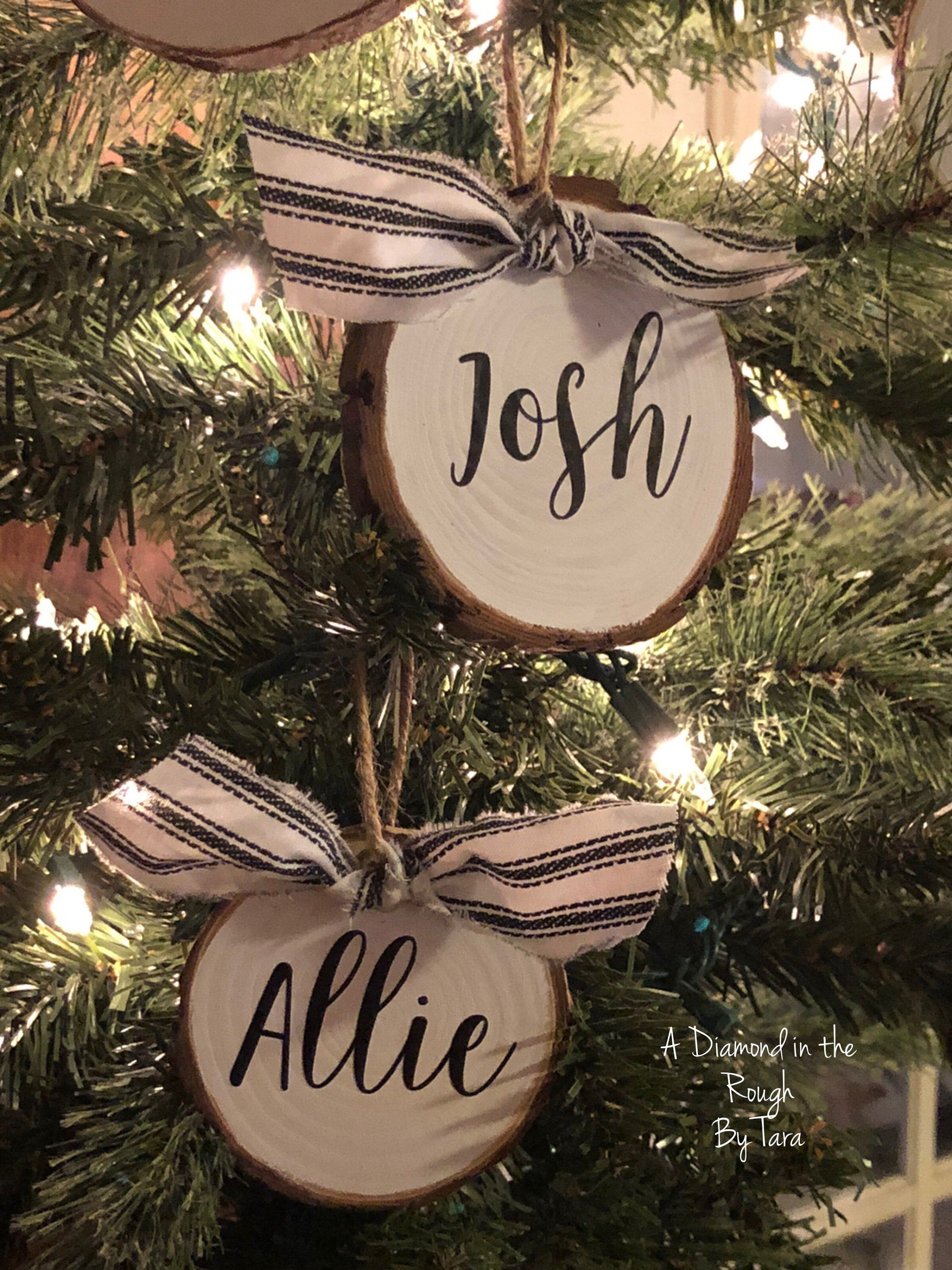 Excited To Share This Item From My Etsy Shop Personalized Wood Slice O Wood Christmas Ornaments Farmhouse Christmas Ornaments Christmas Decorations Ornaments
