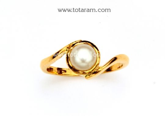 22K Gold Womens Ring With Pearl Totaram Jewelers Buy Indian Gold