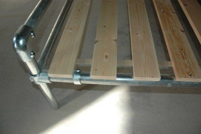 Modern Rustic / Industrial look steel bed frame with reclaimed scaffold head board.