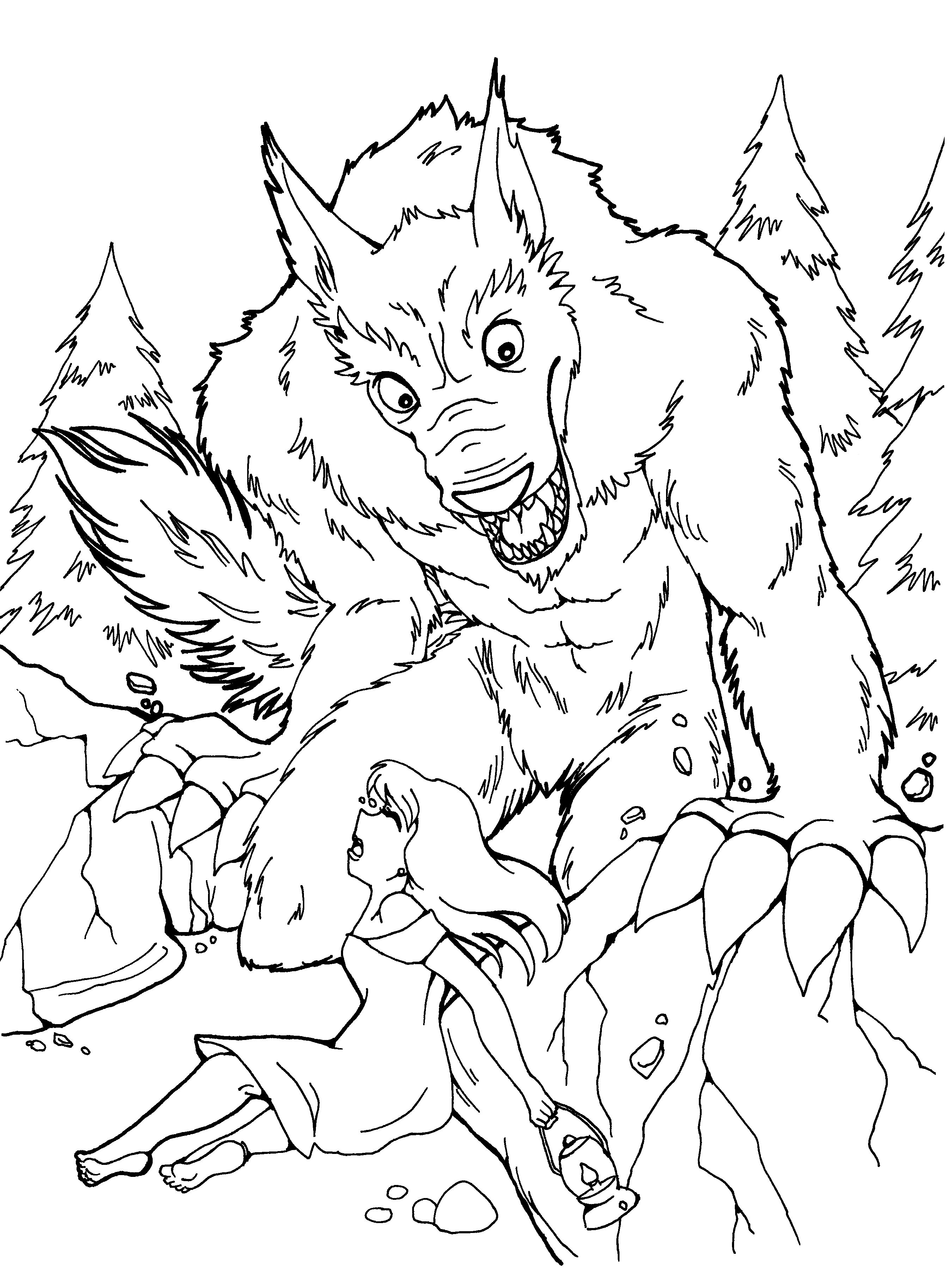 free werewolf coloring page. get more pages to color at