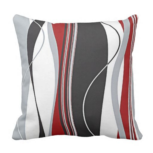 Wavy Vertical Stripes Red Black White Grey Throw Pillow Zazzle Com In 2020 Living Room Red Grey And Red Living Room Living Room Grey