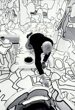 "Jean Dubuffet in his atelier, working on ""Site Scriptuaire II"", Paris 23 Feb. 1974 -by Kurt Wyss via piasa"