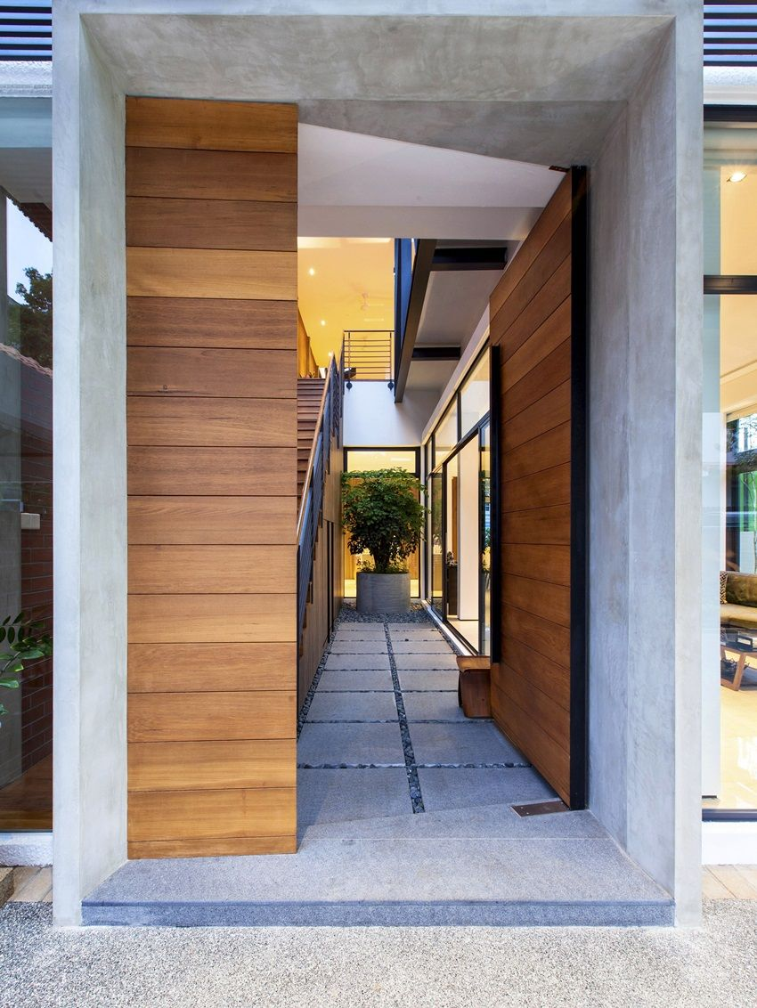 Semi-detached house entrance leads into a redesigned foyer.