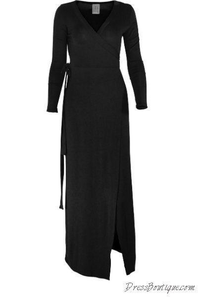 Black Long Sleeve Wrap Dress.