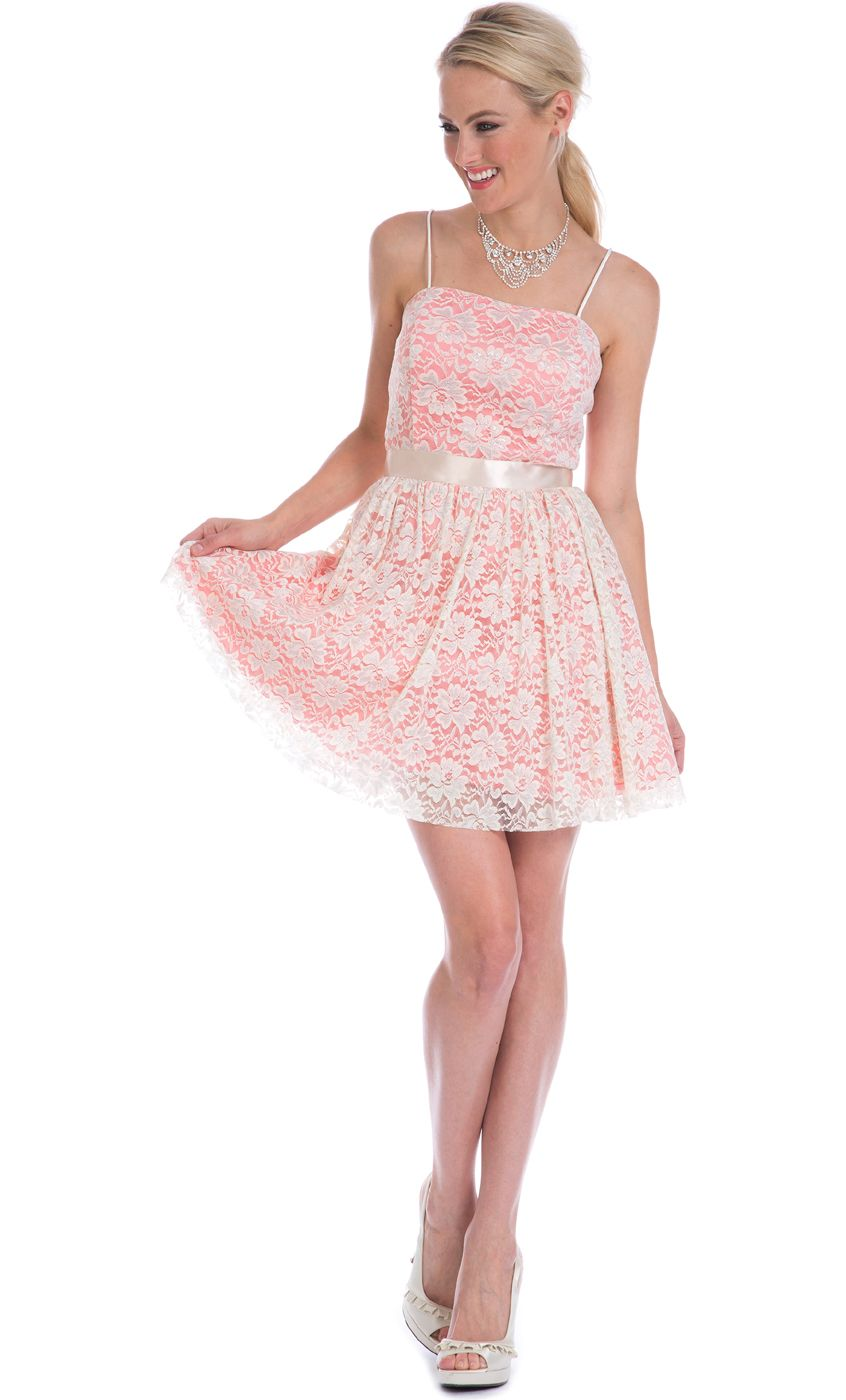 Lace Overlay Spaghetti Strap Mini Dress $74.99 | Wedding Ideas ...