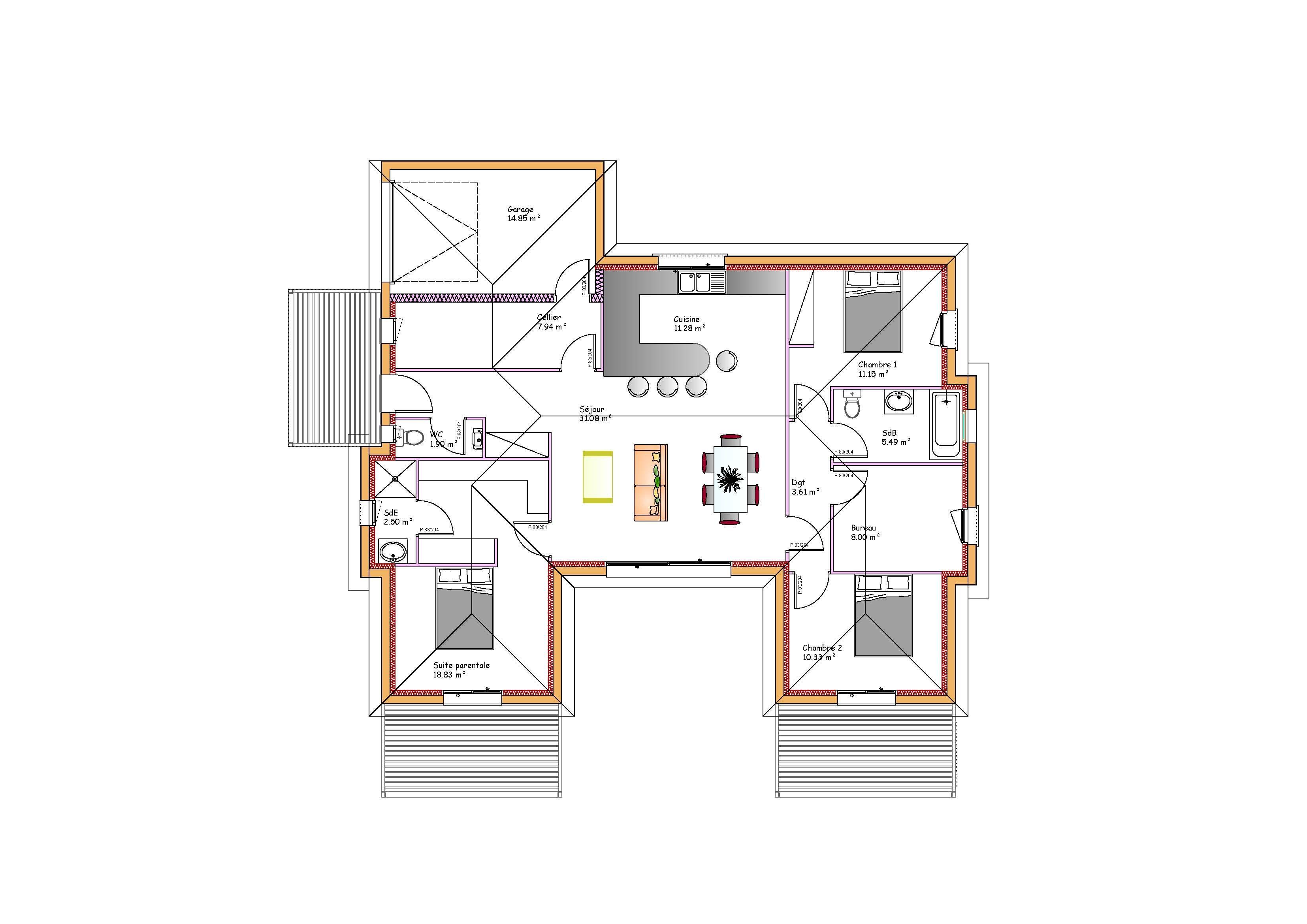 maison plain pied en h
