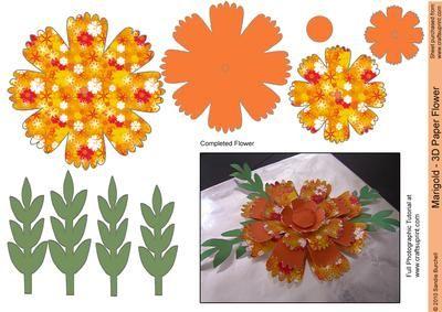 Marigold 3d Paper Flower Card Making Paper Flowers 3d Paper Flowers Flower Cards
